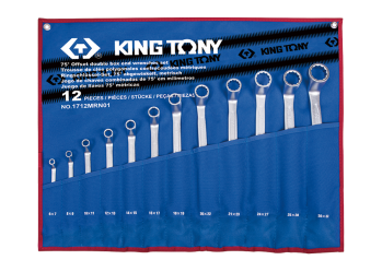 12 PC. 75° Offset Ring Wrench Set KING TONY 1712MRN01