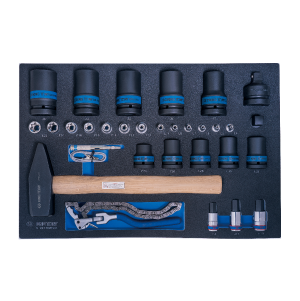 31 PC. Impact Sockets & Star Sockets & Oil Filter Chain Wrench Set for Trolley (EVA FOAM) KING TONY 9-99430MFV01