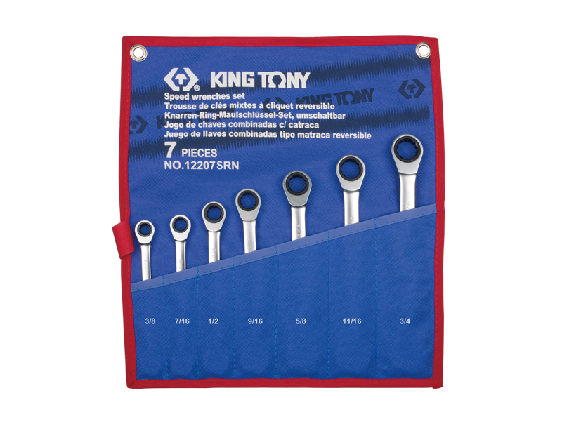 7 PC. Reversible Speed Wrench Set | KING TONY | 12207SRN