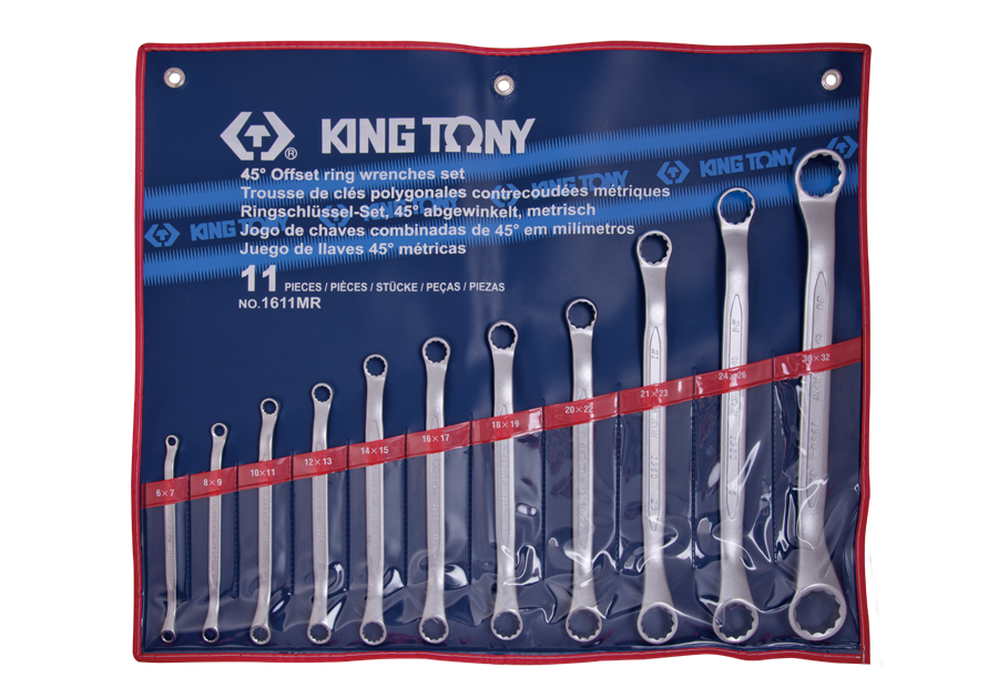 11 PC. 45° Offset Ring Wrench Set  KING TONY  1611MR