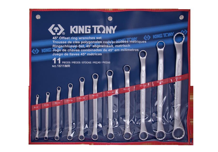 11件式 45°雙梅扳手組  KING TONY  1611MR, 永安實業工具購物網