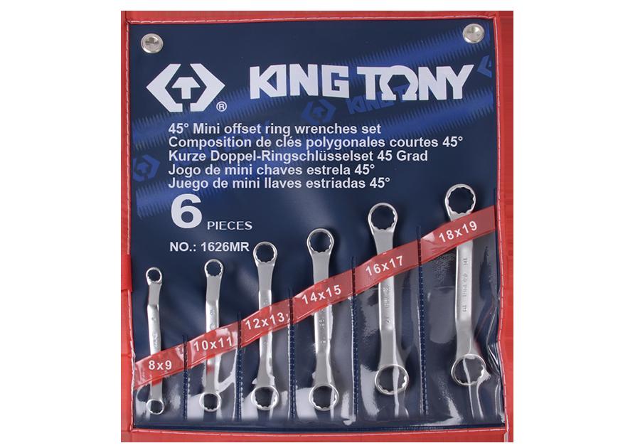 5件式 45°雙梅扳手組  KING TONY  1626MR, 永安實業工具購物網