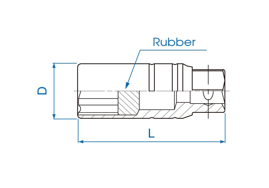 """3/8""""DR. 6PT Rubber Spark Plug Socket"""