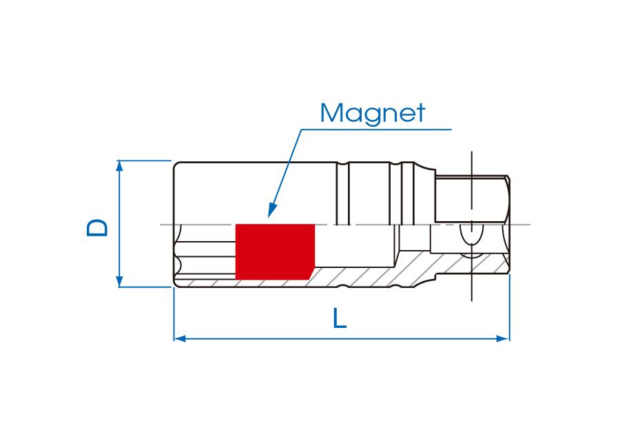 """3/8""""DR. 6PT Magnet Spark Plug Socket"""
