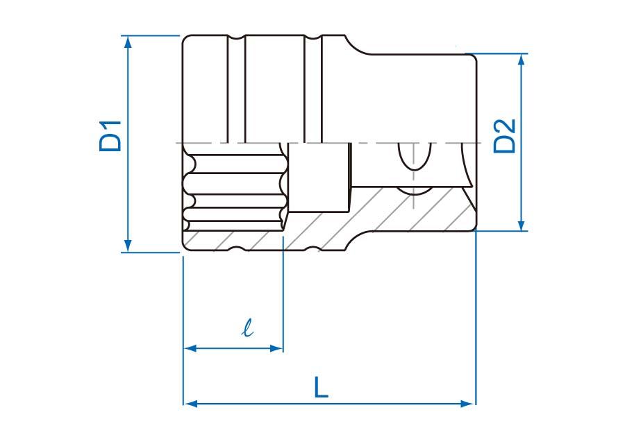 "1/2""DR. 12PT Metric Standard Socket"