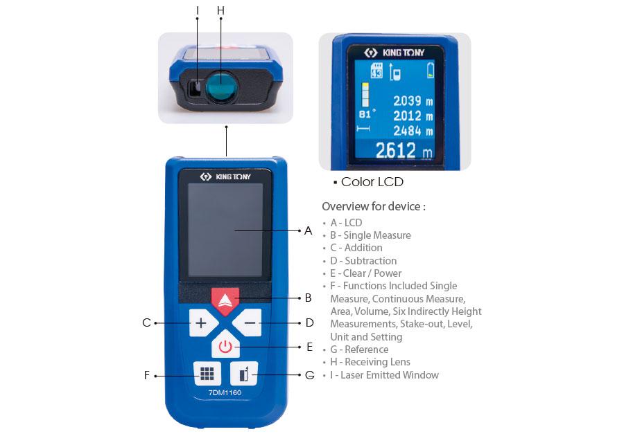 全彩LCD紅外線雷射測距儀(口袋型)0.05~60M  KING TONY  7DM1160, 永安實業工具購物網