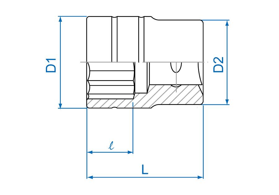 "1""DR. 12PT Metric Standard Socket"