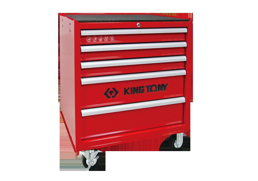 五抽屜鋼珠軌道移動式紅色工具車  KING TONY  87431-5BE, 永安實業工具購物網