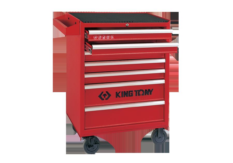 七抽屜鋼珠軌道移動式紅色工具車  KING TONY  87434-7B, 永安實業工具購物網