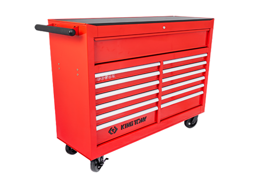 13抽屜鋼珠軌道移動式紅色工具車  KING TONY  87435-13B, 永安實業工具購物網