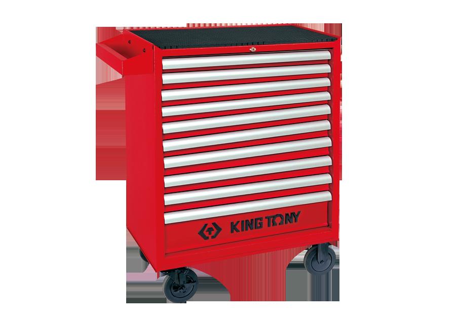 十抽屜鋼珠軌道移動式紅色工具車  KING TONY  87437-10B, 永安實業工具購物網