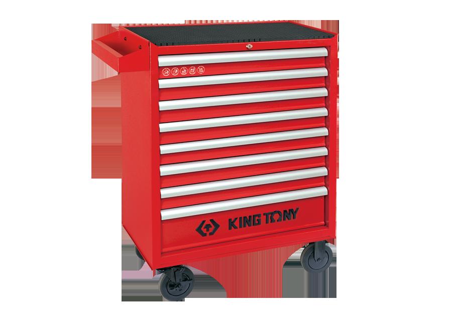 八抽屜鋼珠軌道移動式紅色工具車  KING TONY  87437-8B, 永安實業工具購物網