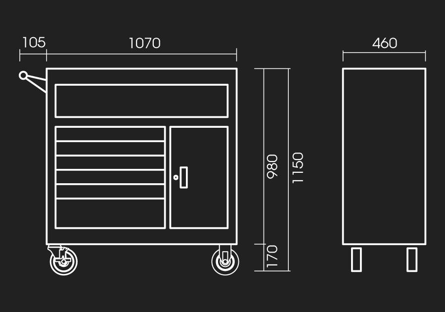 7 Drawers Ball Bearing Type Tool Trolly