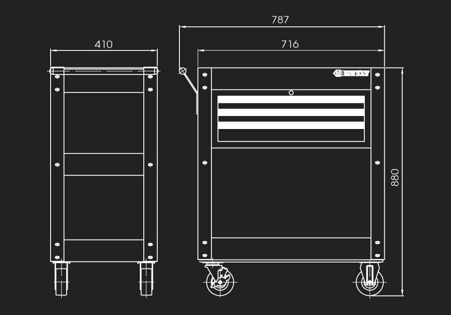 3 Drawers Ball Bearing Type Shelf Trolly