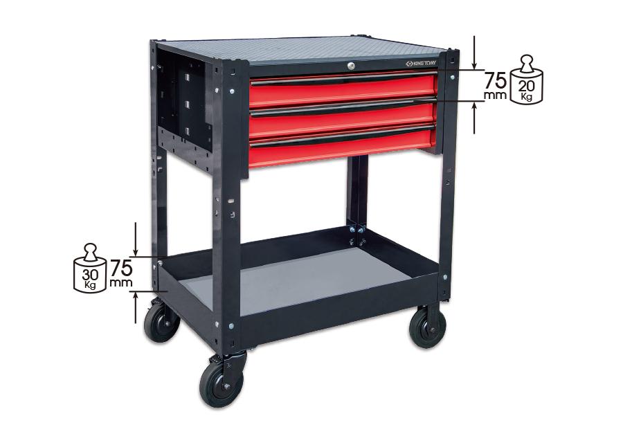 三抽屜移動式工具車  KING TONY  87446-3B-KR, 永安實業工具購物網