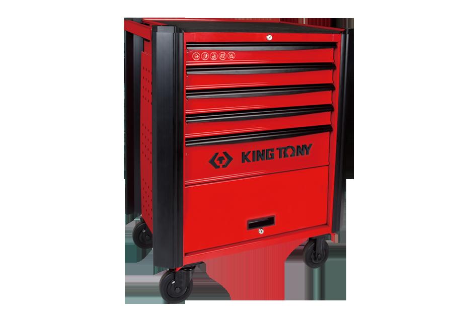 五抽屜防撞邊條紅色工具車  KING TONY  87632-5B, 永安實業工具購物網