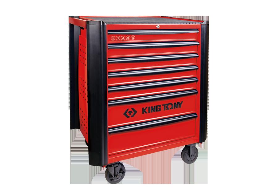 七抽屜防撞邊條紅色工具車  KING TONY  87634-7B, 永安實業工具購物網
