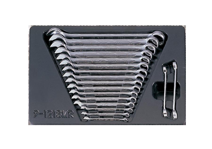 18件式 工具箱(車)用公制複合板手與油管板手組  KING TONY  9-1218MR, 永安實業工具購物網