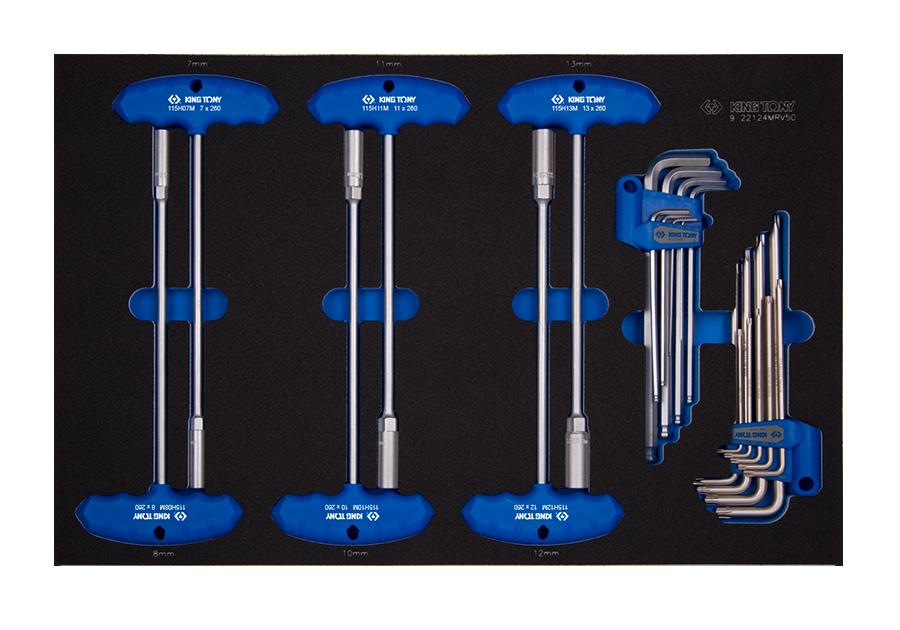 24件式 T把套筒與六角扳手工具車組套(EVA底盤)  KING TONY  9-22124MRV50, 永安實業工具購物網