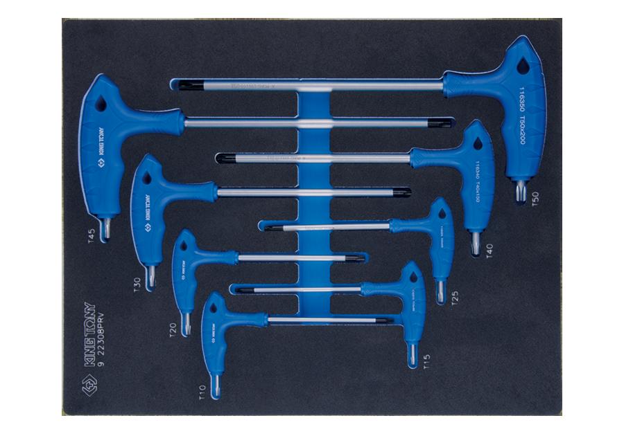 8件式 L把六角星型中孔扳手工具車組套(EVA底盤) | KING TONY | 9-22308PRV
