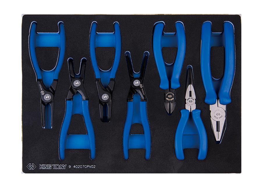 7件式 鉗子工具車組套(EVA底盤) | KING TONY | 9-40207GPV02