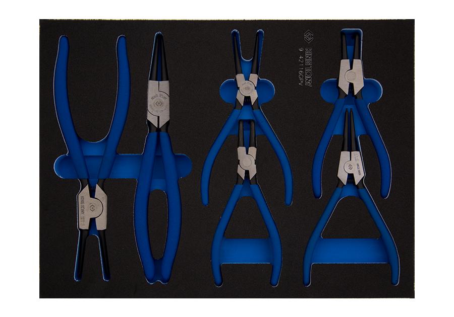 6件式 扣環鉗工具車組套(EVA底盤) | KING TONY | 9-42116GPV