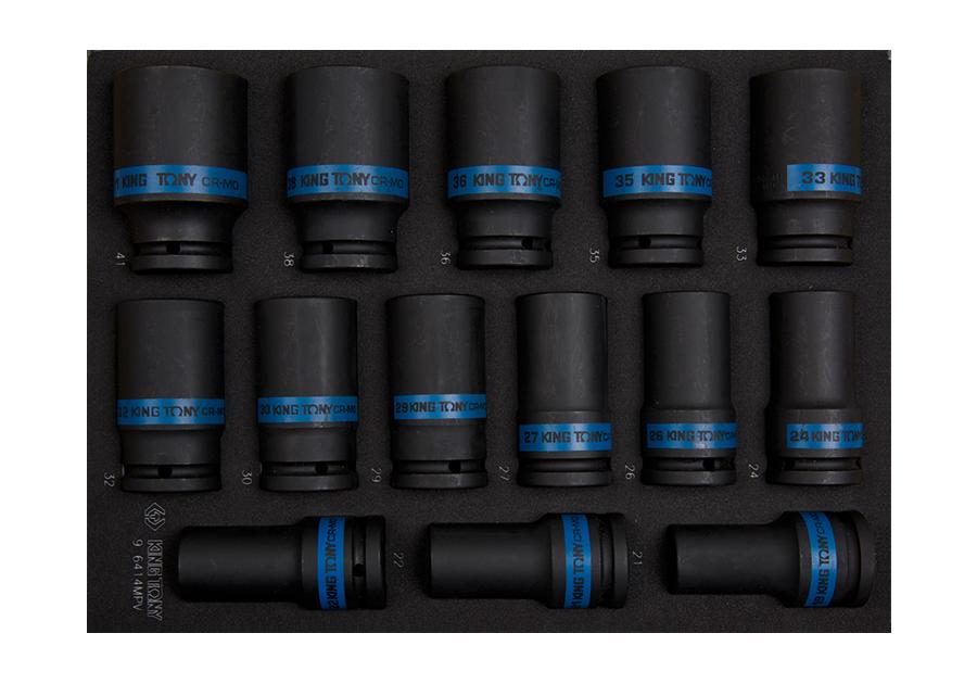 6件式 氣動套筒工具車組套(EVA底盤) | KING TONY | 9-6414MPV
