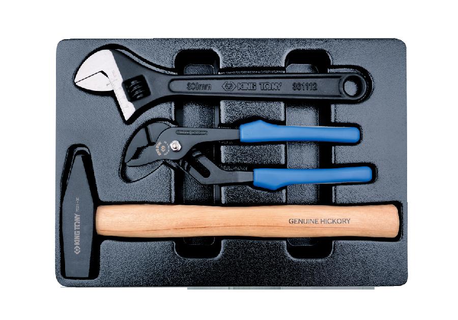 3件式 工具箱(車)用板手與鉗子與槌子組  KING TONY  9-90103PP02, 永安實業工具購物網