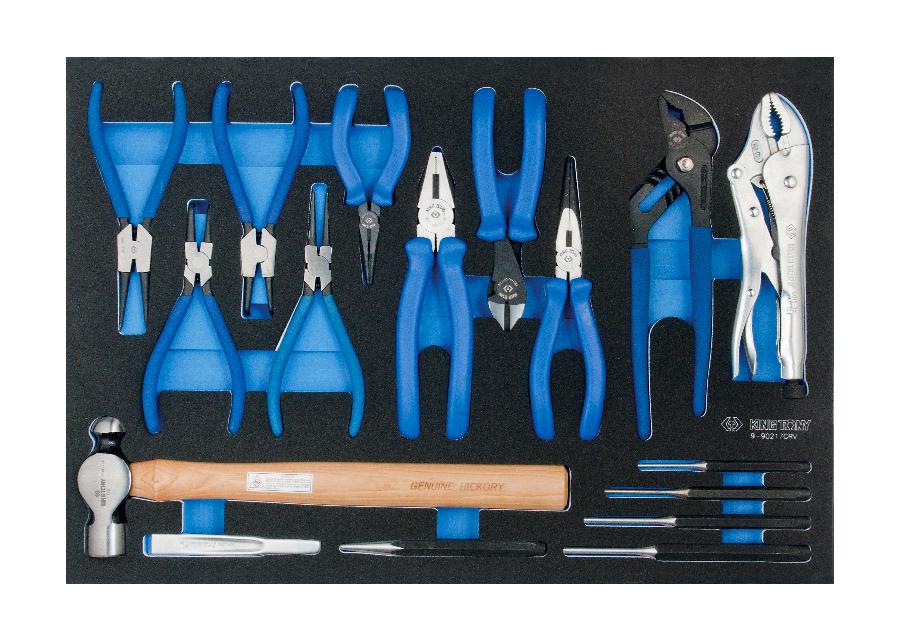 17件式 鉗類&沖鑿&鎚類工具車組套(EVA底盤)  KING TONY  9-90217GRV, 永安實業工具購物網