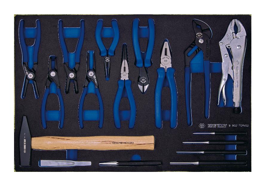 17件式 鉗類&沖鑿&鎚類工具車組套(EVA底盤) | KING TONY | 9-90217GRV02