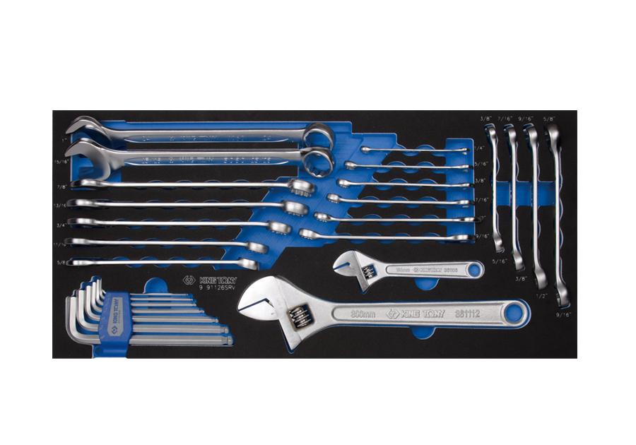 26件式 複合扳手&六角扳手工具箱組套(EVA底盤)  KING TONY  9-91126SRV, 永安實業工具購物網