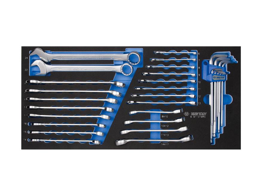31件式 複合扳手&六角扳手工具箱組套(EVA底盤)  KING TONY  9-91131MRV, 永安實業工具購物網