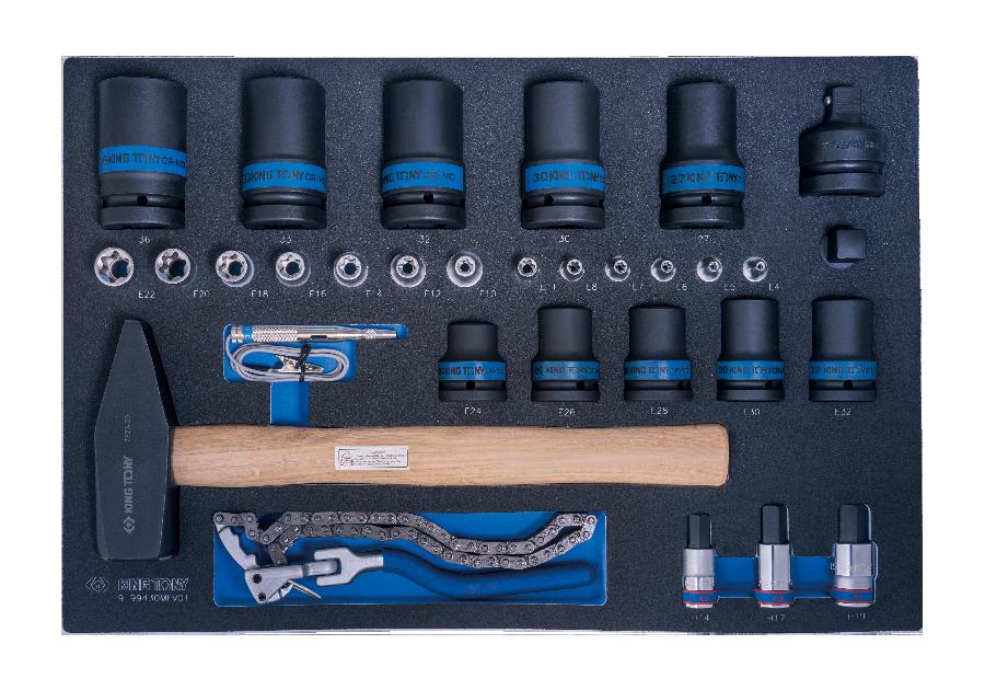 31件式 氣動套筒與六角星型套筒與機油芯鏈條扳手工具車組套(EVA底盤)  KING TONY  9-99430MFV01, 永安實業工具購物網