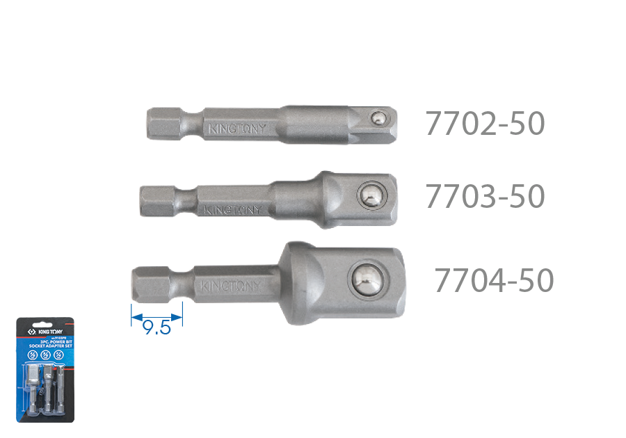 3件式 電動起子更換套筒接頭組套(鋼珠型) | KING TONY | 9103PR
