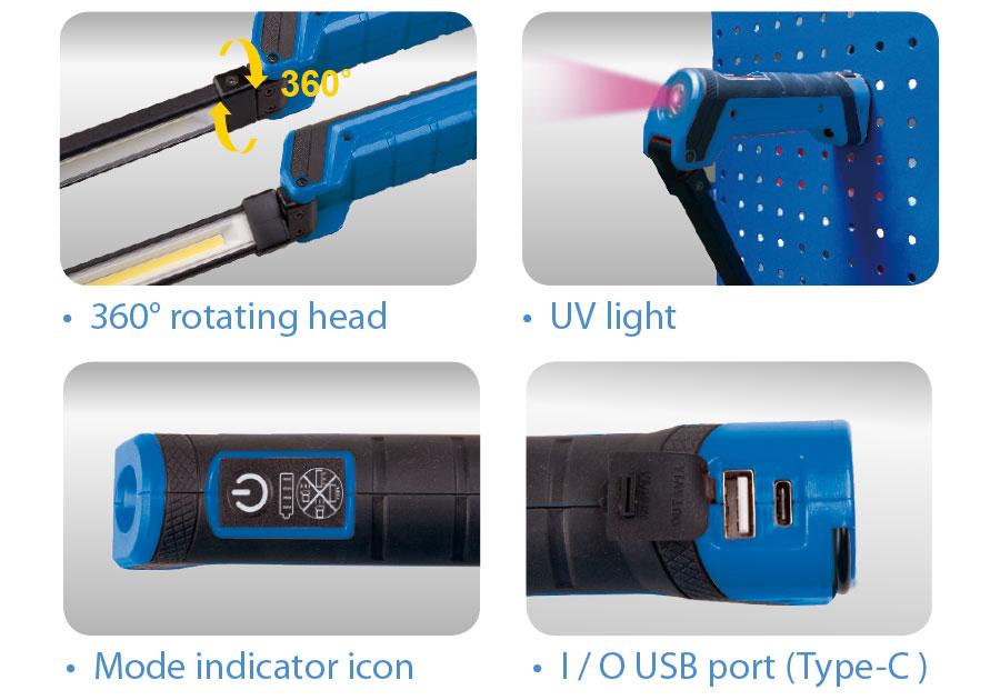 2W + 5W 摺疊磁吸燈  KING TONY  P9TA0212, 永安實業工具購物網